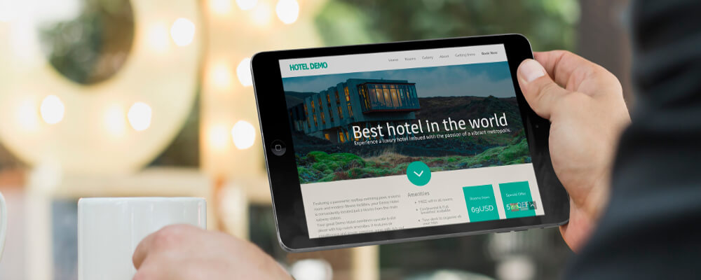 Hotel Website on Tablet