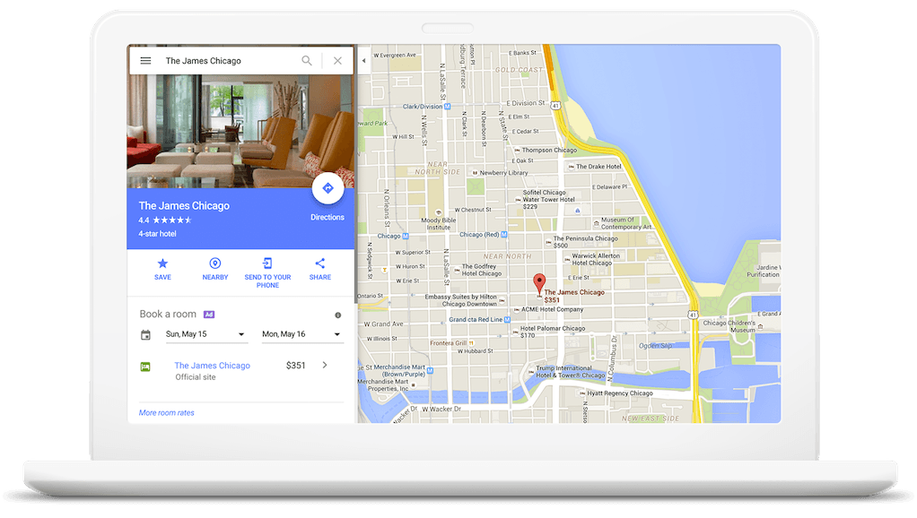 Google Maps hotel booking