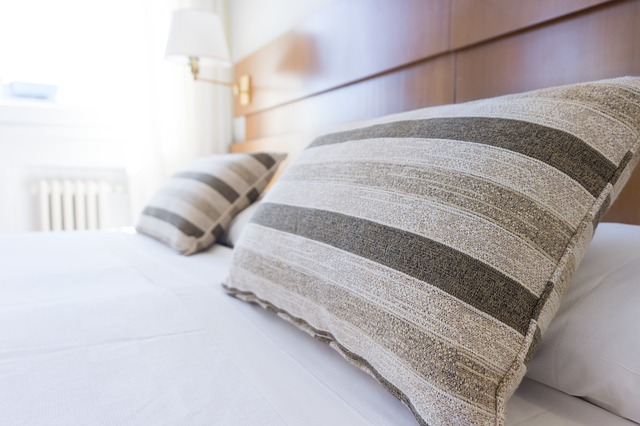 Cushions on a hotel bed