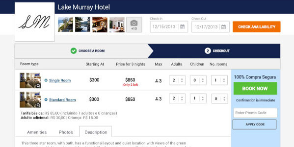 Hotel Website Booking Engine Screen