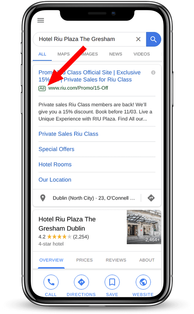 Hotel Google Ads Campaign result on Iphone