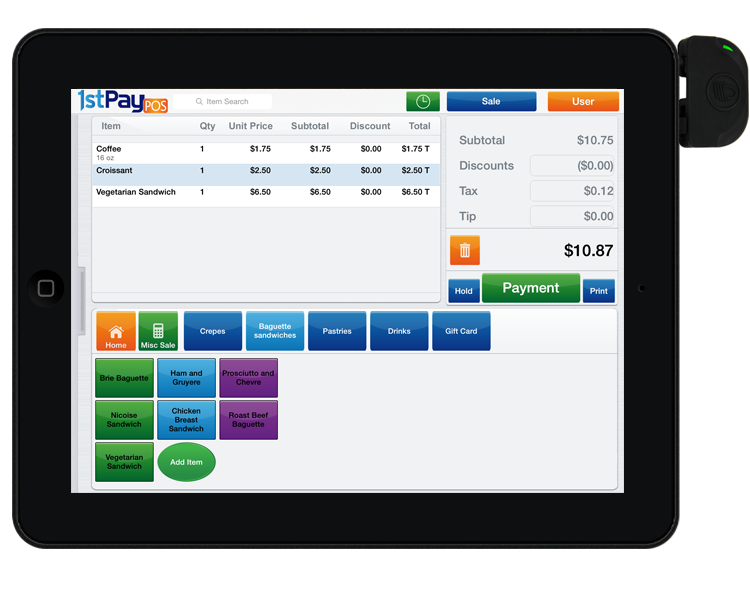 Point of Sales System on Tablet