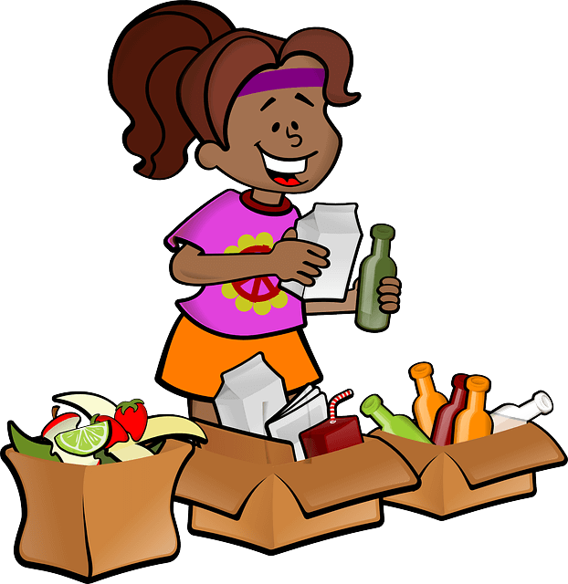 Woman recycling waste